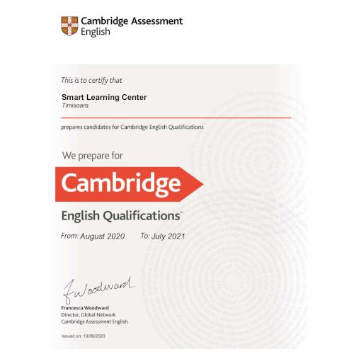 Centrul de limbi straine Smart - partener oficial Cambridge 2020